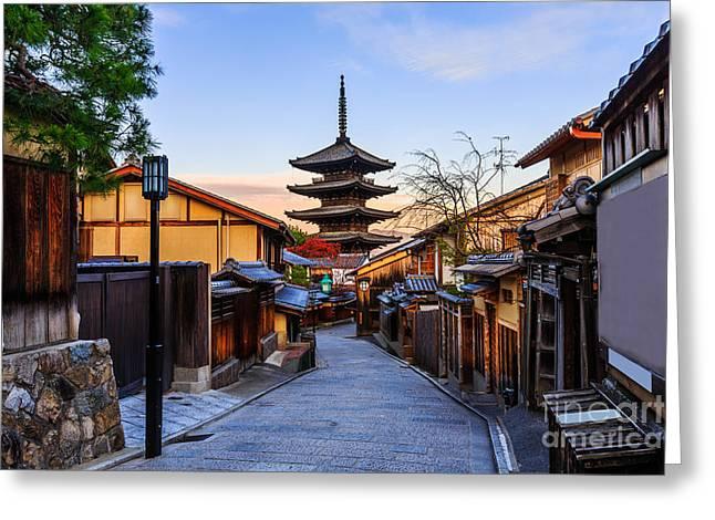 Yasaka Pagoda And Sannen Zaka Street In Greeting Card