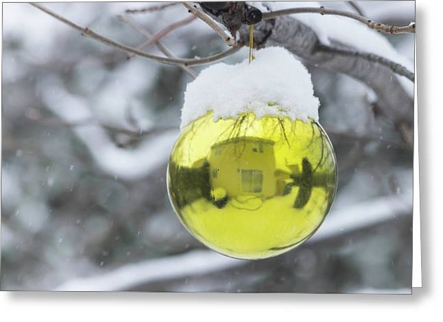Greeting Card featuring the photograph Yellow Christmas Ball Outside, Covered By Snow And House Reflect by Cristina Stefan