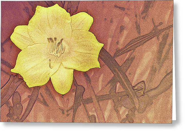 Yellow Day Lily Stencil On Sandstone Greeting Card