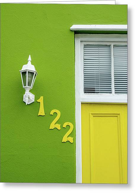 Yellow Door And Green Wall In Bo-kaap Greeting Card