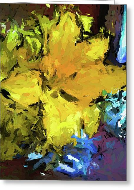 Yellow Flower And The Eggplant Floor Greeting Card