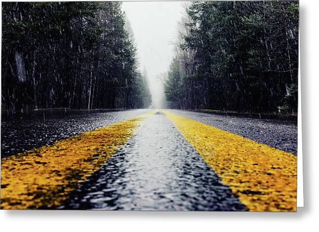 Yellow Lines Greeting Card