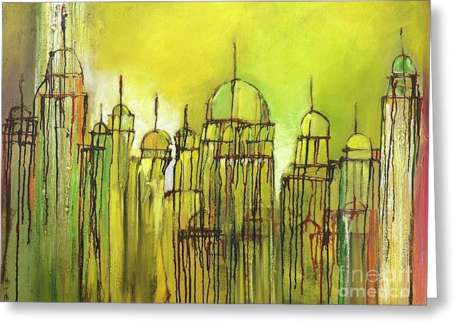 Greeting Card featuring the painting Yellow Mosque  by Nizar MacNojia