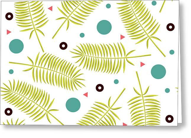 Yellow Palm Leaf Pattern - Blue Circles - Geometric Pattern - Mid Century Modern Greeting Card
