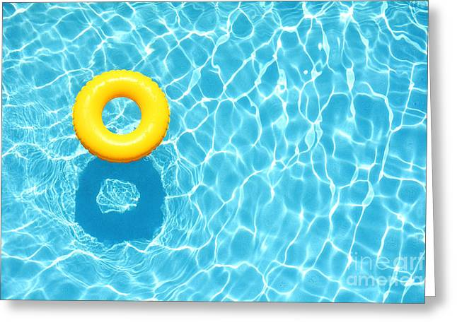 Yellow Pool Float, Ring Floating In A Greeting Card
