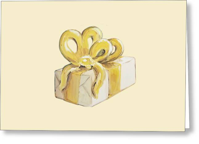 Greeting Card featuring the painting Yellow Present by Maria Langgle
