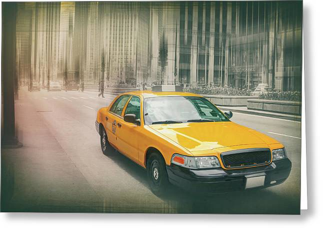 Yellow Taxi Cab Downtown Chicago  Greeting Card