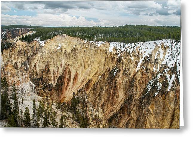 Greeting Card featuring the photograph Yellowstone Canyon With Frosting by Matthew Irvin