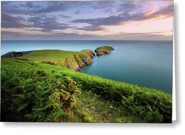 Greeting Card featuring the photograph Ynys Lochtyn Summer Sunrise by Elliott Coleman