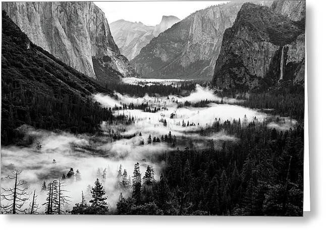 Greeting Card featuring the photograph Yosemite Fog 2 by Stephen Holst