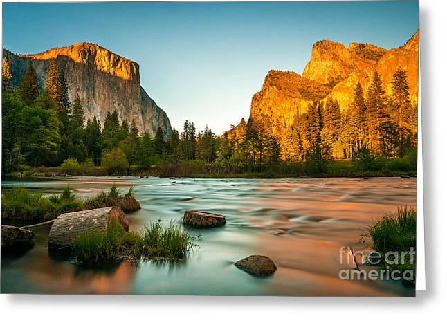Yosemite Valley View Sunset Greeting Card