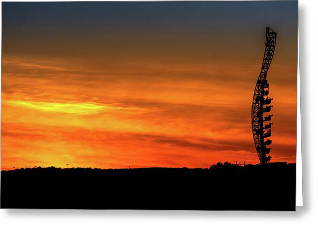 Vertical Roller Coaster At Sunset Greeting Card