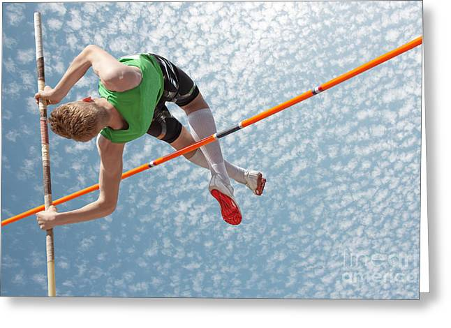 Young Athletes Pole Vault Seems To Greeting Card