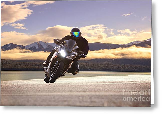 Young Bike Man Riding  Motorcycle In Greeting Card