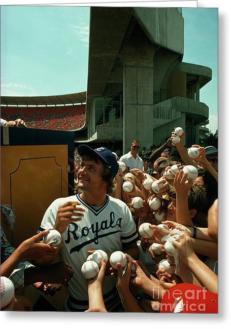 Young Fans Hold Up Baseballs For Royals Star George Brett To Sign Greeting Card