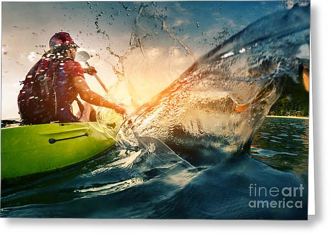 Young Lady Paddling Hard The Kayak With Greeting Card by Dudarev Mikhail