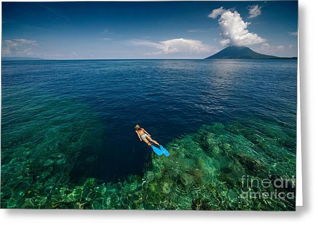 Young Lady Snorkeling Over The Reef Greeting Card by Dudarev Mikhail