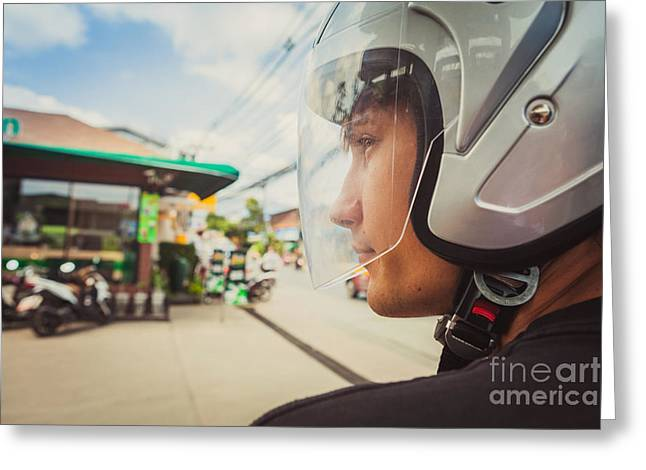 Young Man In Helmet Greeting Card