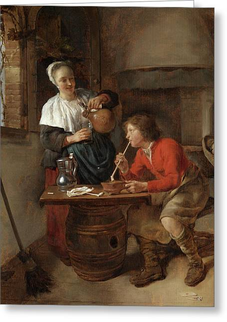 Young Man Smoking And A Woman Pouring Beer Greeting Card
