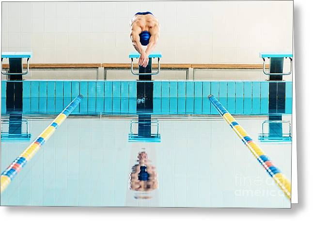 Young Muscular Swimmer Jumping From Greeting Card