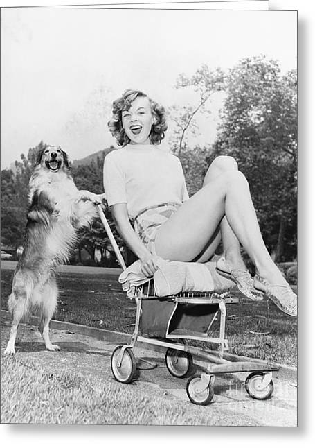 Young Woman And Her Pushy Pet Dog Greeting Card