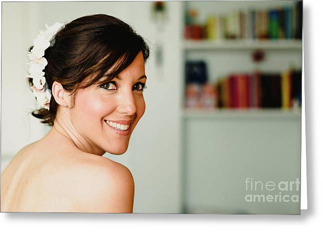 Young Woman From Behind Smiling Greeting Card