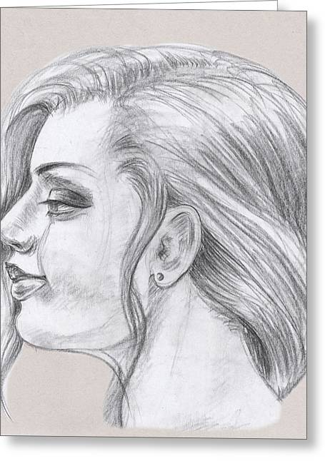 Young Woman Head Study Profile Greeting Card