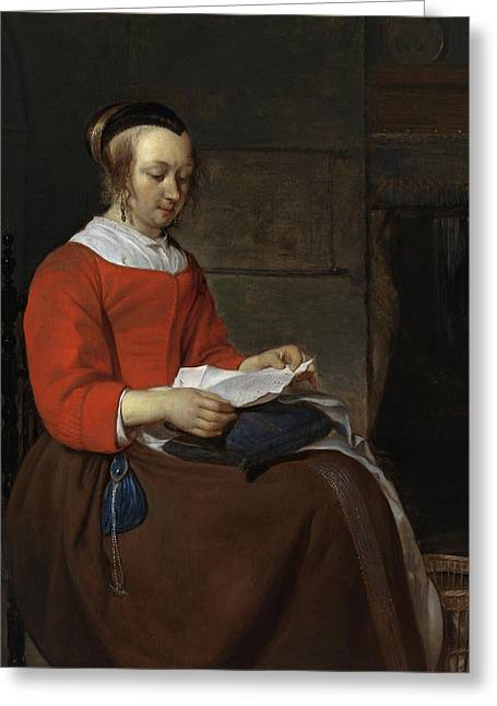 Young Woman Seated In An Interior, Reading A Letter Greeting Card