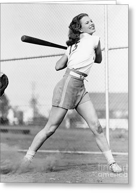 Young Woman Swinging A Baseball Bat In Greeting Card