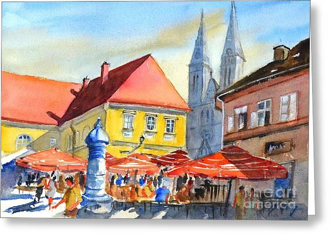 Zagreb Near Dolce Market Greeting Card