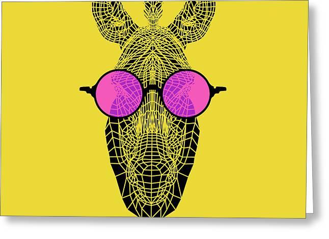 Zebra In Pink Glasses Greeting Card