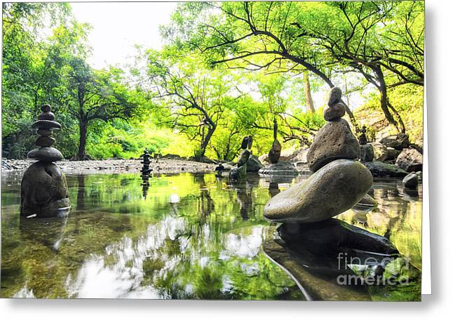 Zen Pond In Forest. Photography Of Greeting Card