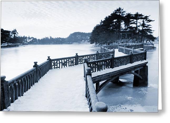Zigzag Bridge In The Lake Greeting Card