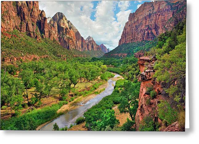 Zion Canyon And Virgin River, Zion Greeting Card