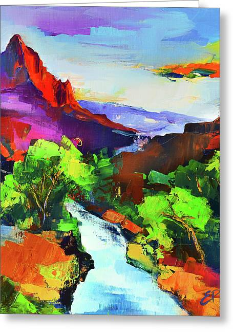 Zion - The Watchman And The Virgin River Greeting Card