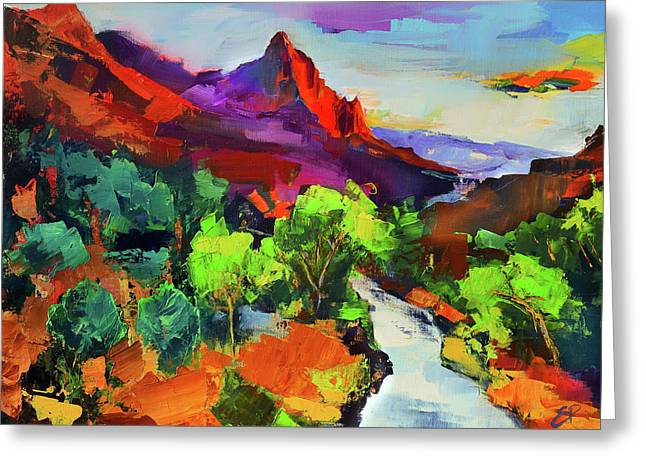 Zion - The Watchman And The Virgin River Vista Greeting Card