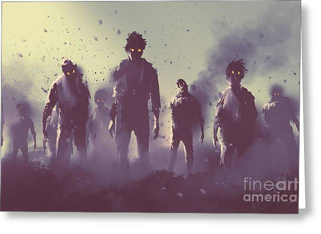 Zombie Crowd Walking At Night,halloween Greeting Card