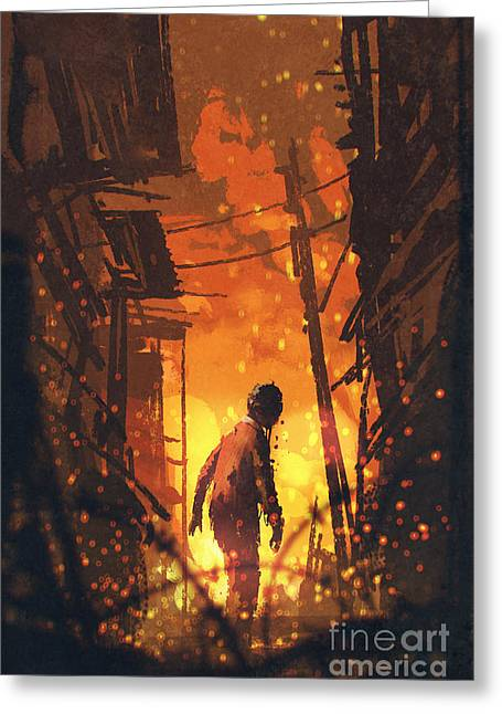 Zombie Looking Back With Burning City Greeting Card