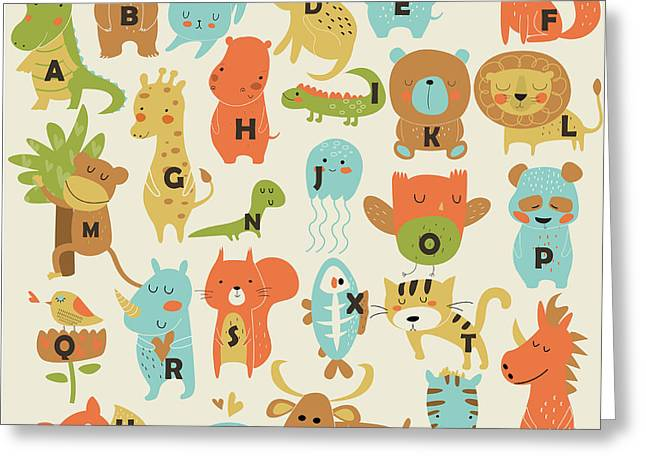 Zoo Alphabet With Cute Animals In Greeting Card