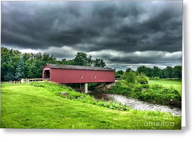 Zumbrota Bridge Thunder Greeting Card