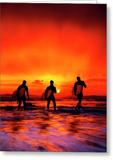 Widemouth Bay, Surfers At Sunset, Cornwall, Uk Photograph ...