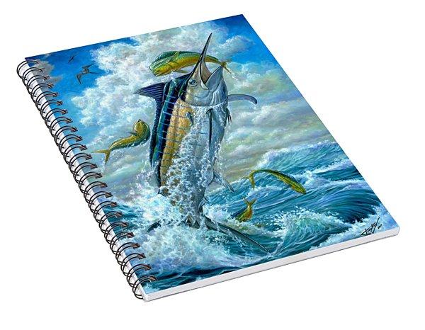 Big Jump Blue Marlin With Mahi Mahi Spiral Notebook