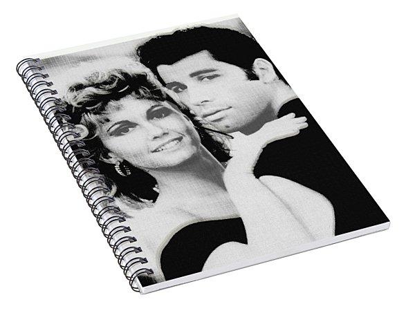 Olivia Newton John And John Travolta In Grease Collage Spiral Notebook