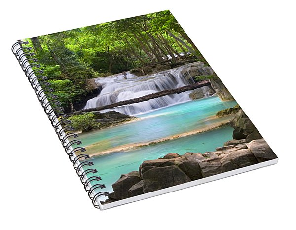 Stream With Waterfall In Tropical Forest Spiral Notebook