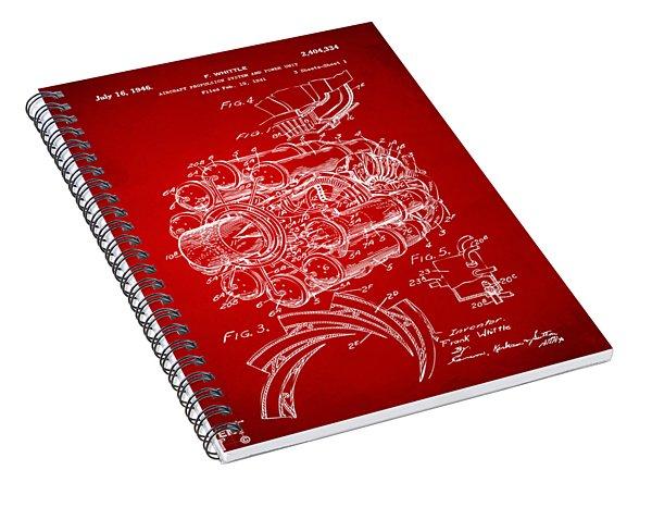 1946 Jet Aircraft Propulsion Patent Artwork - Red Spiral Notebook