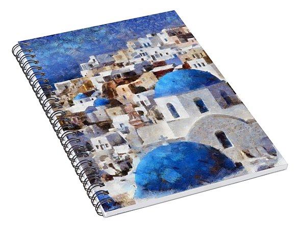 Colorful Oia In Santorini Island Spiral Notebook