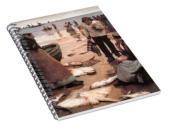 A Fish Sale On A Cornish Beach Spiral Notebook