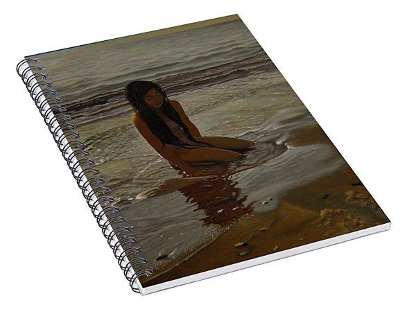 A Line Between Ocean And Sand Spiral Notebook