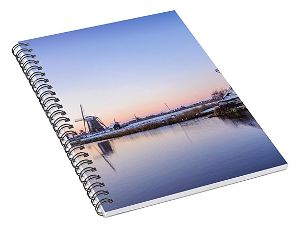 A Cold Winter Morning With Some Windmills In The Netherlands Spiral Notebook