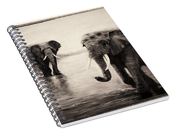 African Elephants At Sunset Spiral Notebook